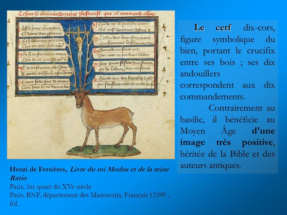 Le cerf dix-cors, figure symbolique du bien, portant le crucifix entre ses bois ; ses dix andouillers correspondent aux dix commandements.