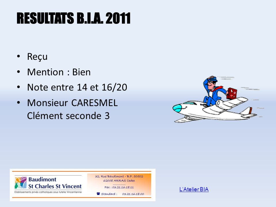 RESULTATS B.I.A. 2011 Reçu Mention : Bien Note entre 14 et 16/20