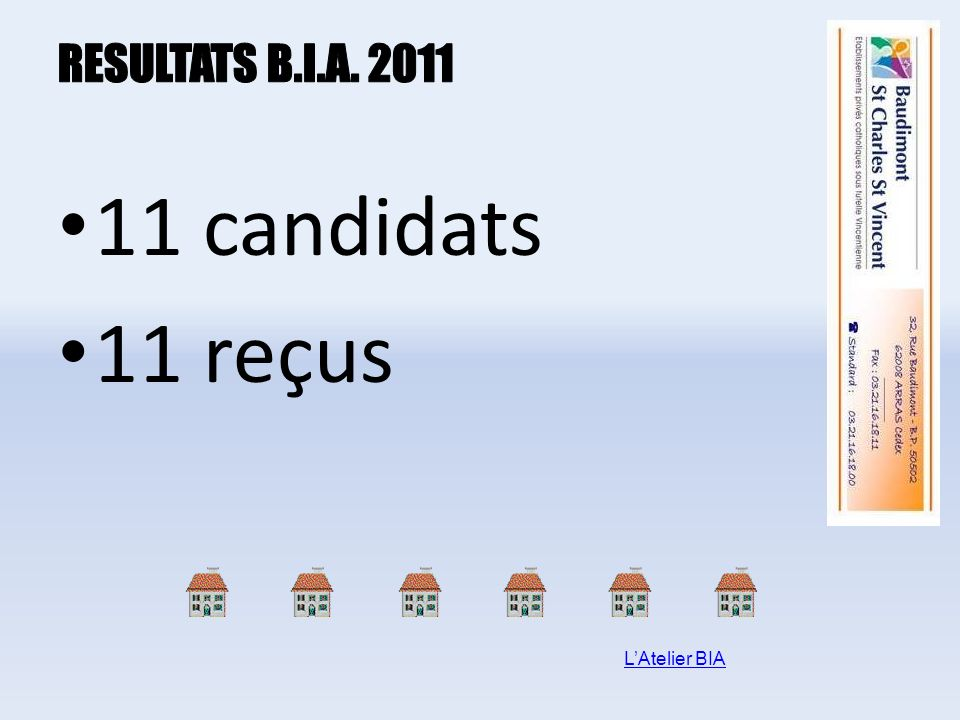 RESULTATS B.I.A. 2011 11 candidats 11 reçus L'Atelier BIA