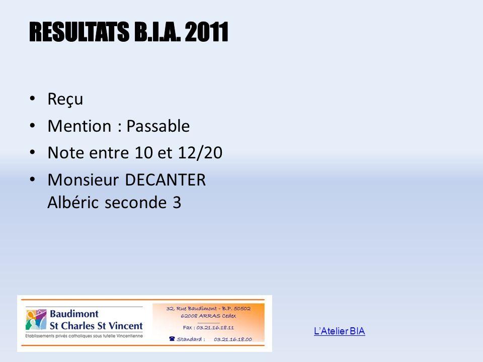 RESULTATS B.I.A. 2011 Reçu Mention : Passable Note entre 10 et 12/20