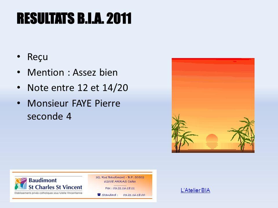 RESULTATS B.I.A. 2011 Reçu Mention : Assez bien Note entre 12 et 14/20