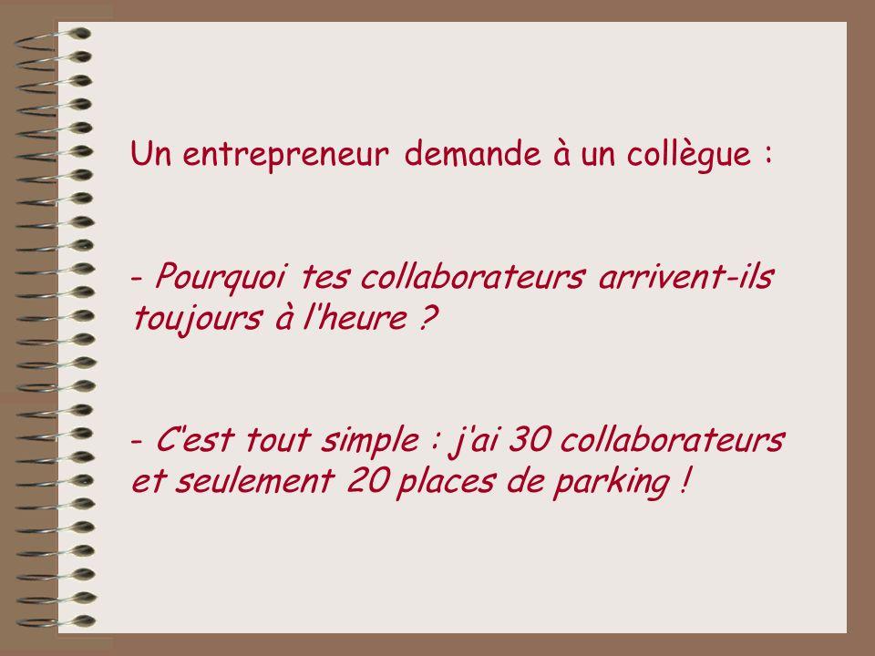 Un entrepreneur demande à un collègue :