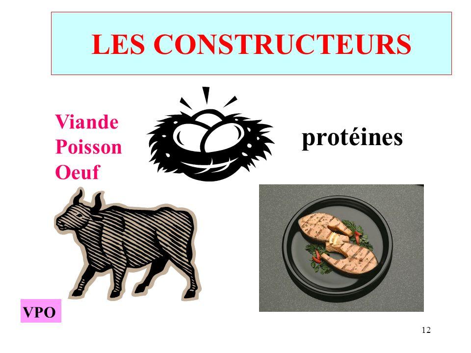 LES CONSTRUCTEURS Viande Poisson Oeuf protéines VPO VPO