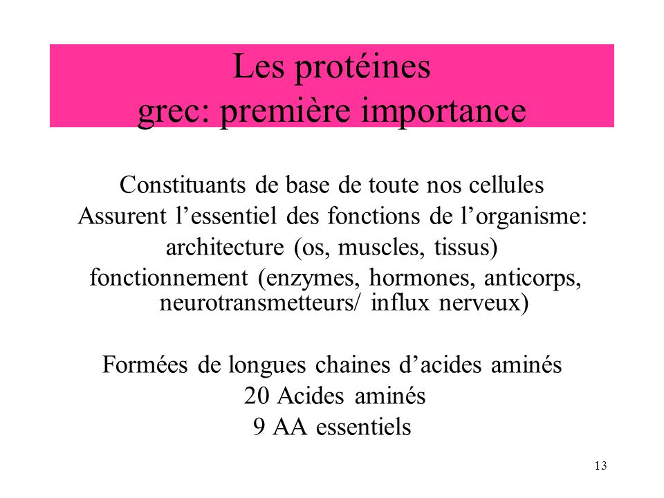Les protéines grec: première importance