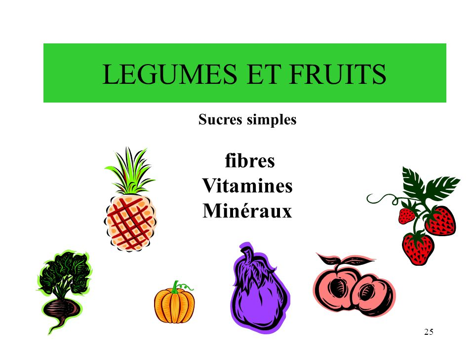 LEGUMES ET FRUITS Sucres simples fibres Vitamines Minéraux