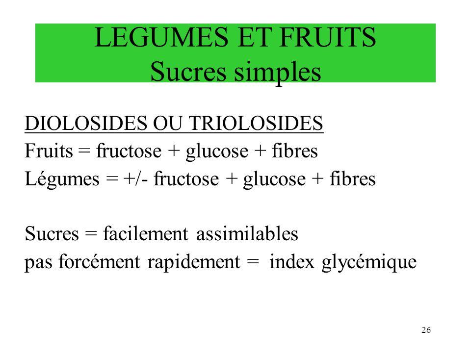 LEGUMES ET FRUITS Sucres simples DIOLOSIDES OU TRIOLOSIDES