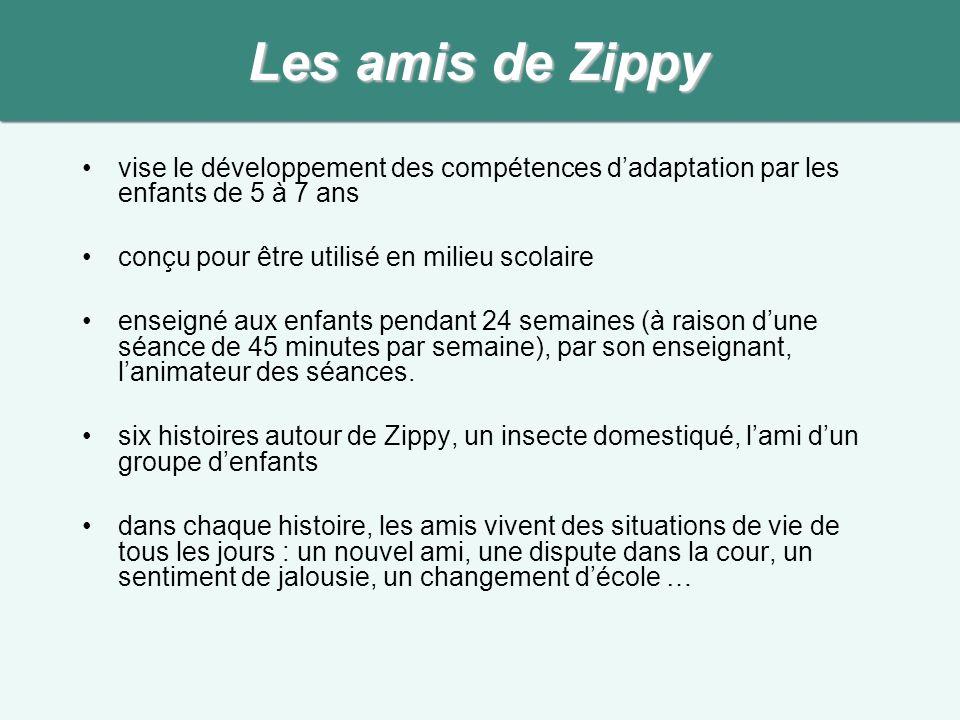 Les amis de Zippy vise le développement des compétences d'adaptation par les enfants de 5 à 7 ans.