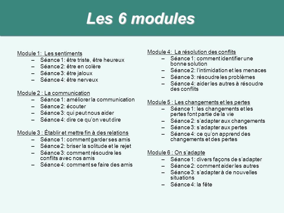 Les 6 modules Module 1: Les sentiments