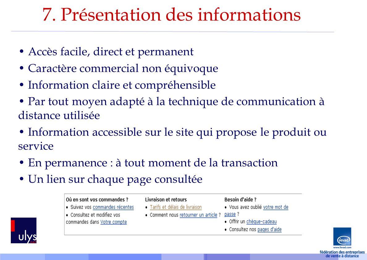 7. Présentation des informations
