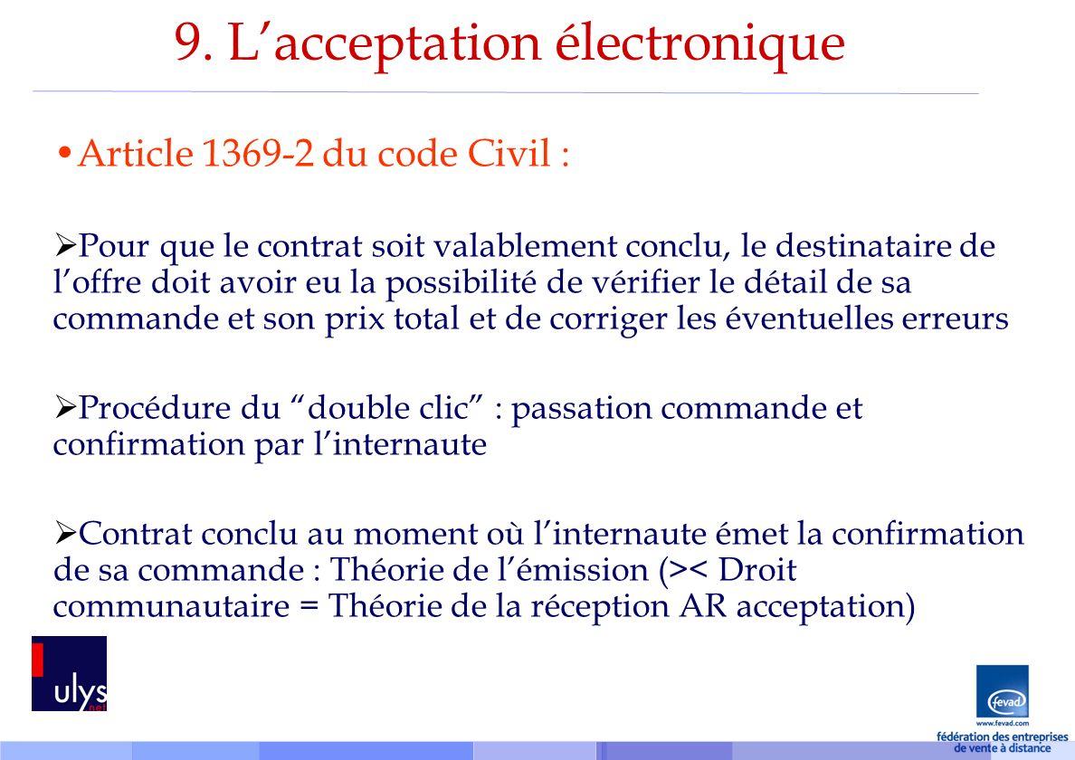 9. L'acceptation électronique