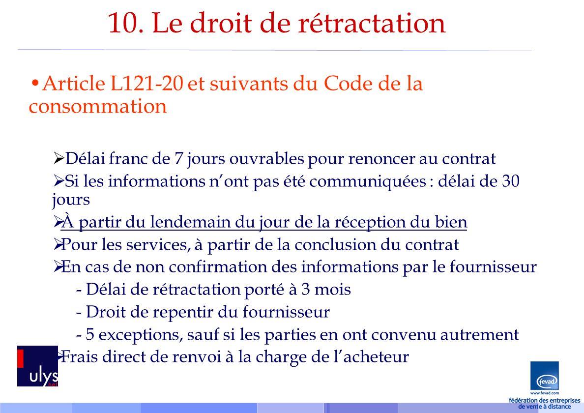 10. Le droit de rétractation