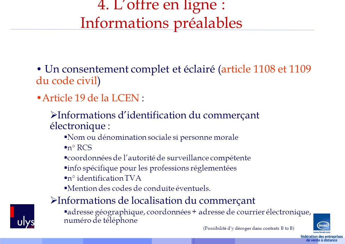 4. L'offre en ligne : Informations préalables