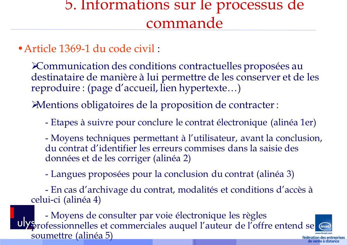 5. Informations sur le processus de commande