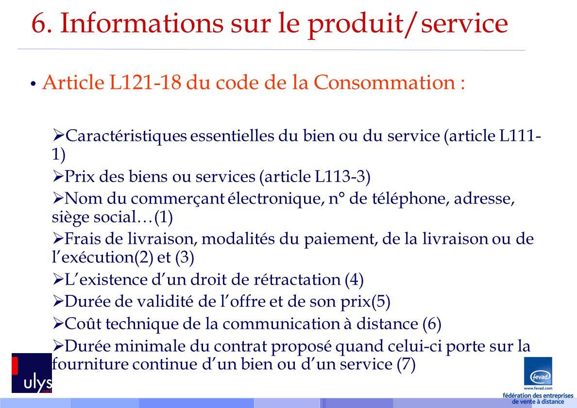 6. Informations sur le produit/service