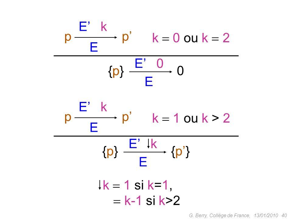 {p} E E' 0 p E' k p' k  0 ou k  2 {p} E E' k {p'} p p'