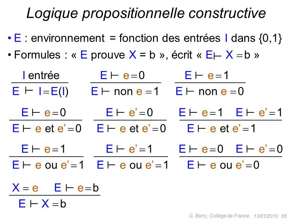 Logique propositionnelle constructive