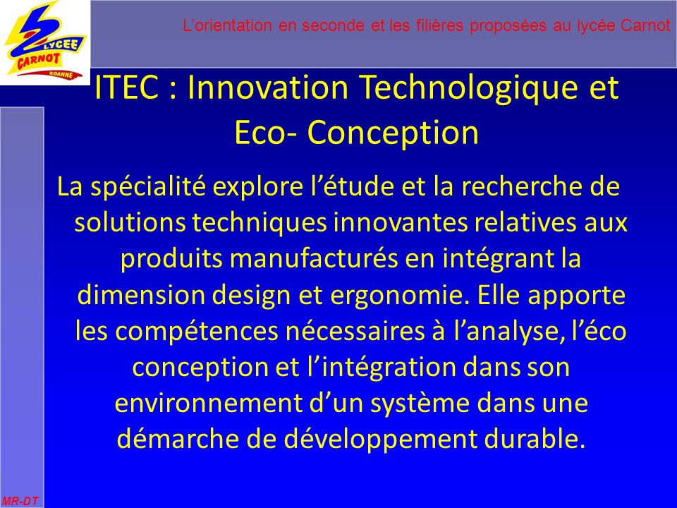 ITEC : Innovation Technologique et Eco- Conception