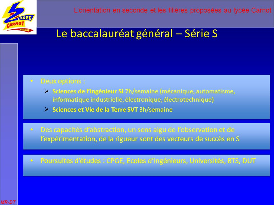 Le baccalauréat général – Série S