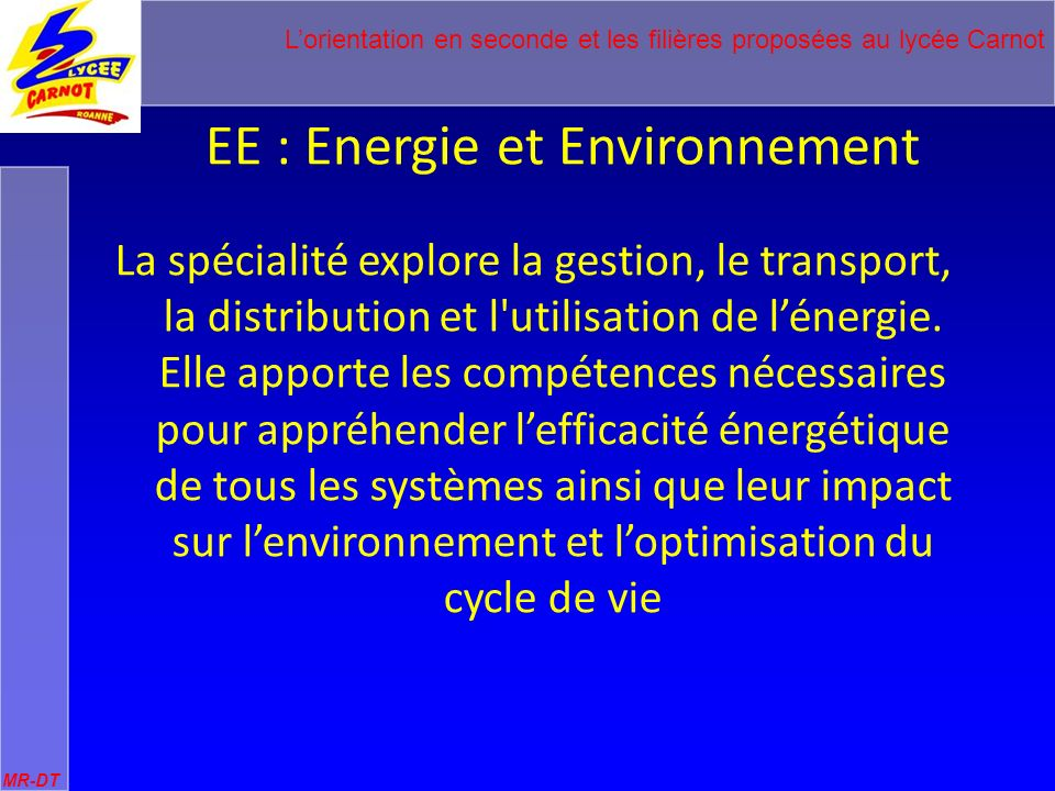 EE : Energie et Environnement