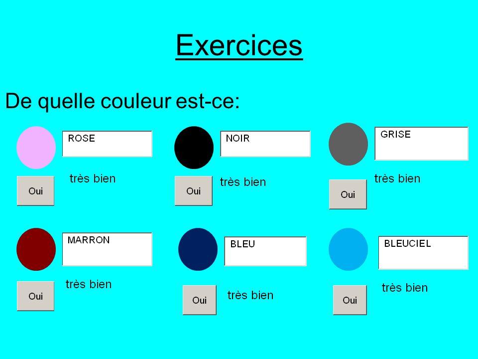Exercices De quelle couleur est-ce: