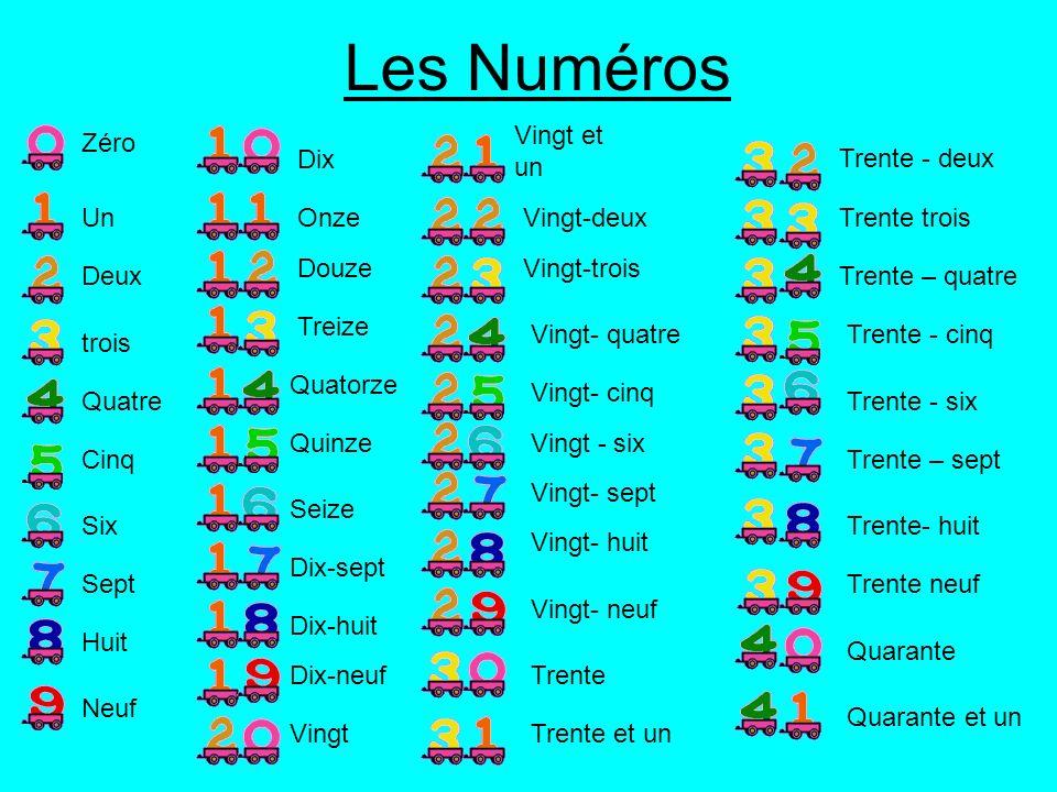 Les Numéros Vingt et un Zéro Dix Trente - deux Un Onze Vingt-deux