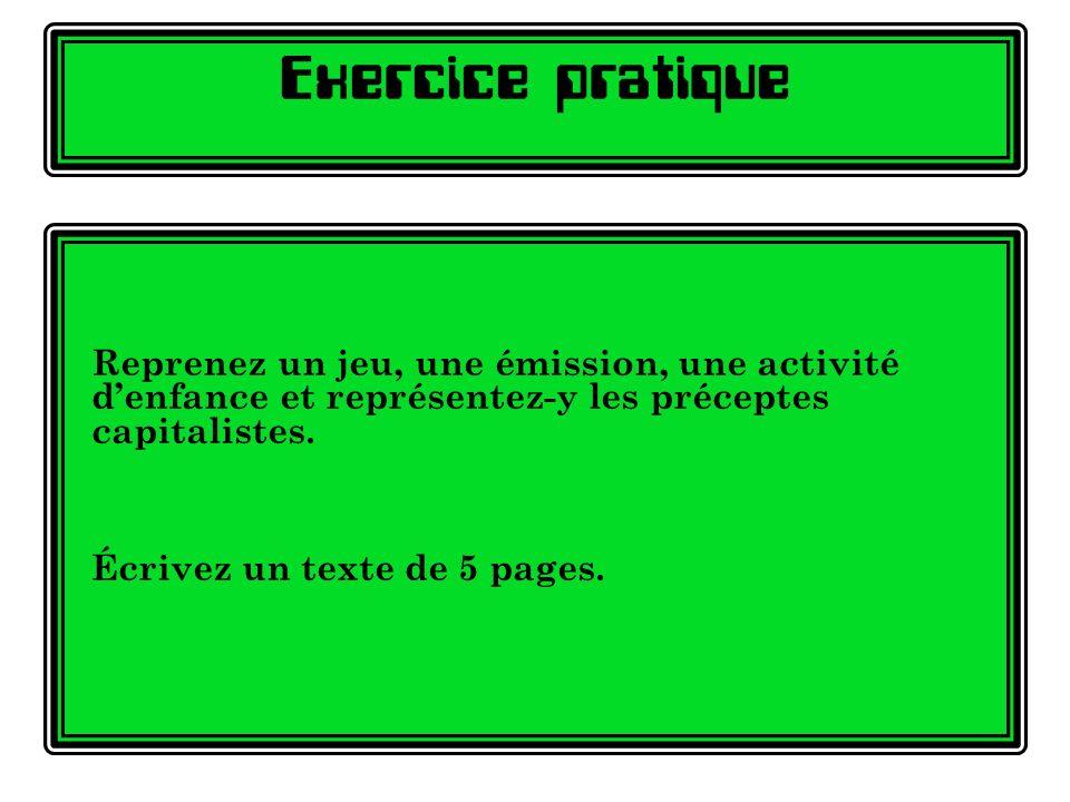 Exercice pratique Reprenez un jeu, une émission, une activité d'enfance et représentez-y les préceptes capitalistes.