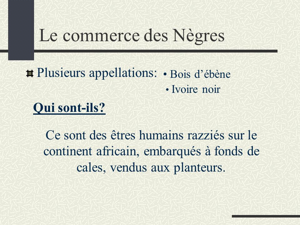 Le commerce des Nègres Plusieurs appellations: Qui sont-ils