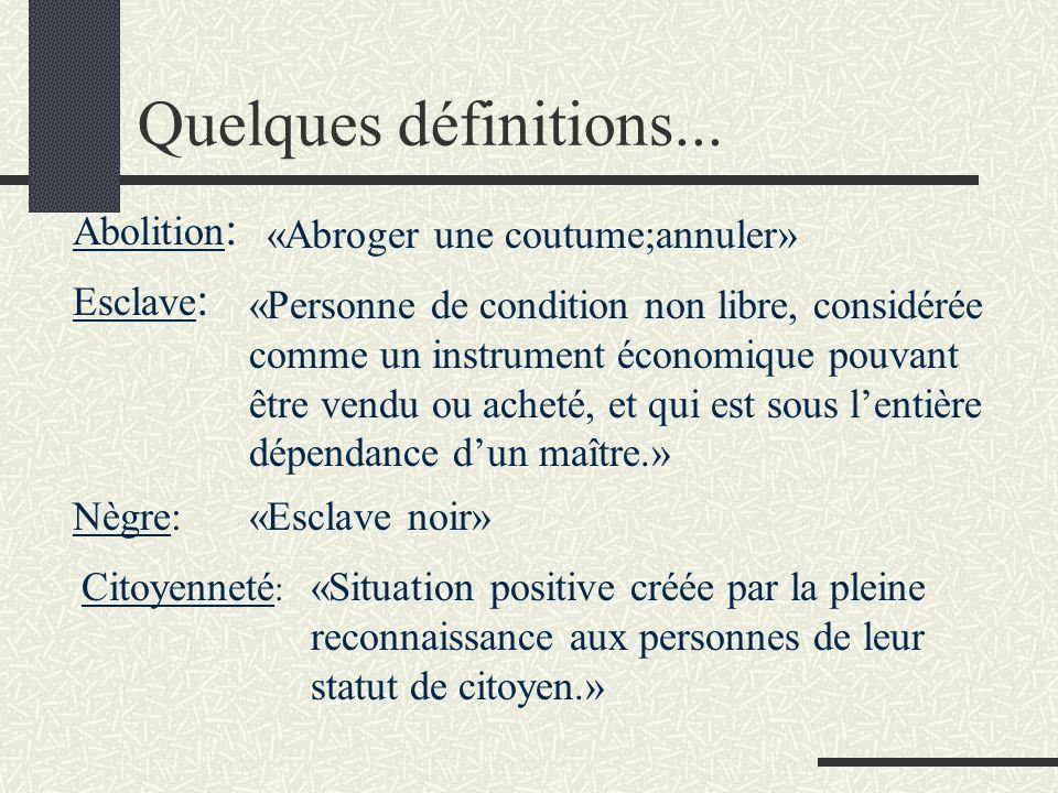 Quelques définitions... Abolition: «Abroger une coutume;annuler»