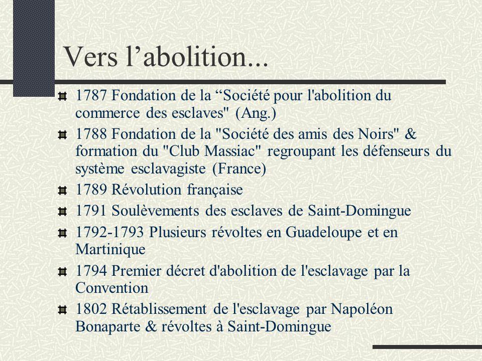 Vers l'abolition... 1787 Fondation de la Société pour l abolition du commerce des esclaves (Ang.)