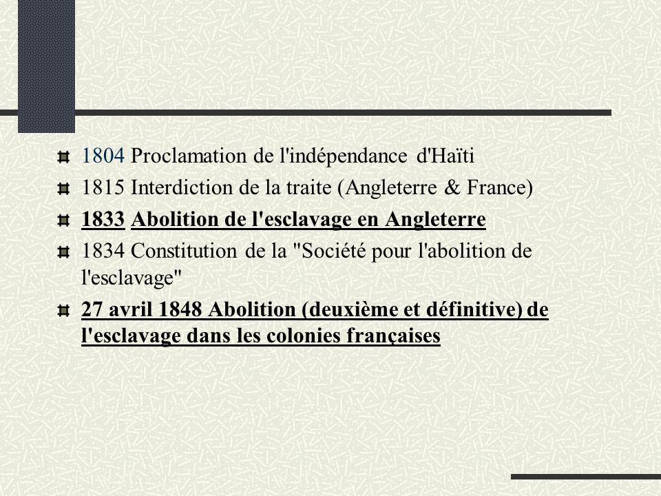 1804 Proclamation de l indépendance d Haïti