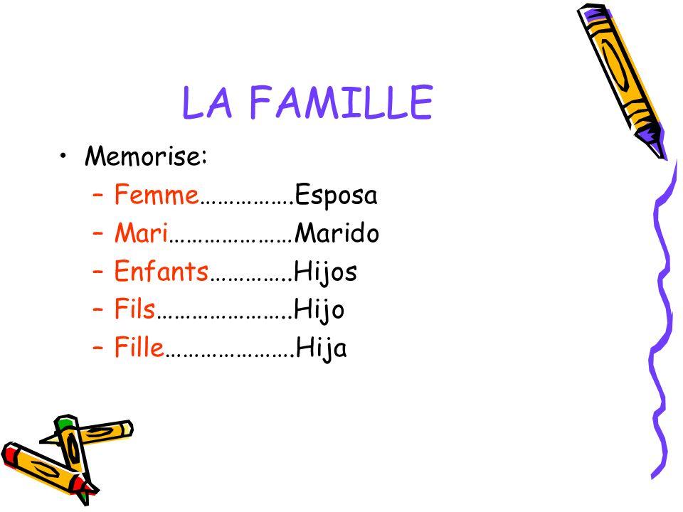 LA FAMILLE Memorise: Femme…………….Esposa Mari…………………Marido