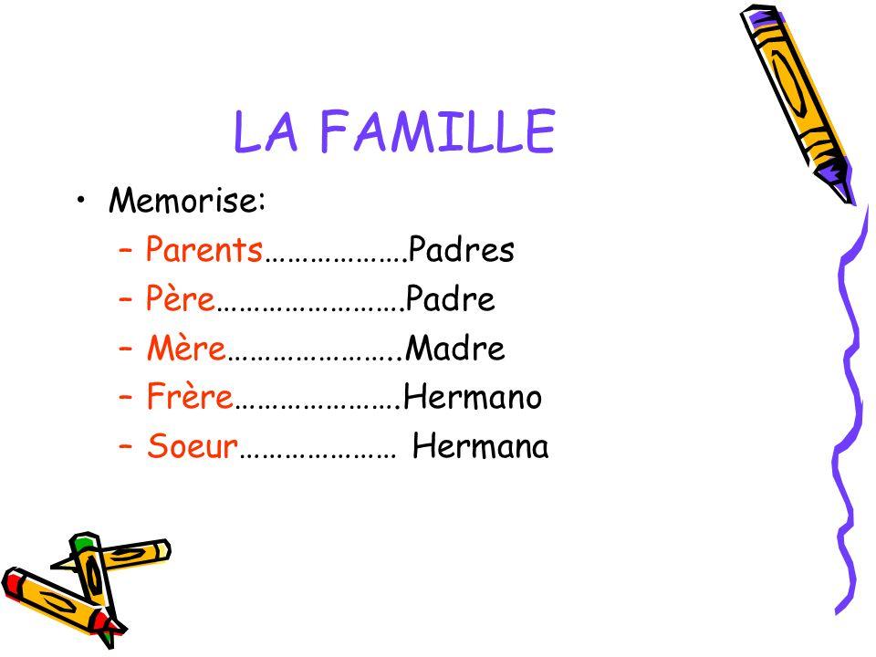 LA FAMILLE Memorise: Parents……………….Padres Père…………………….Padre