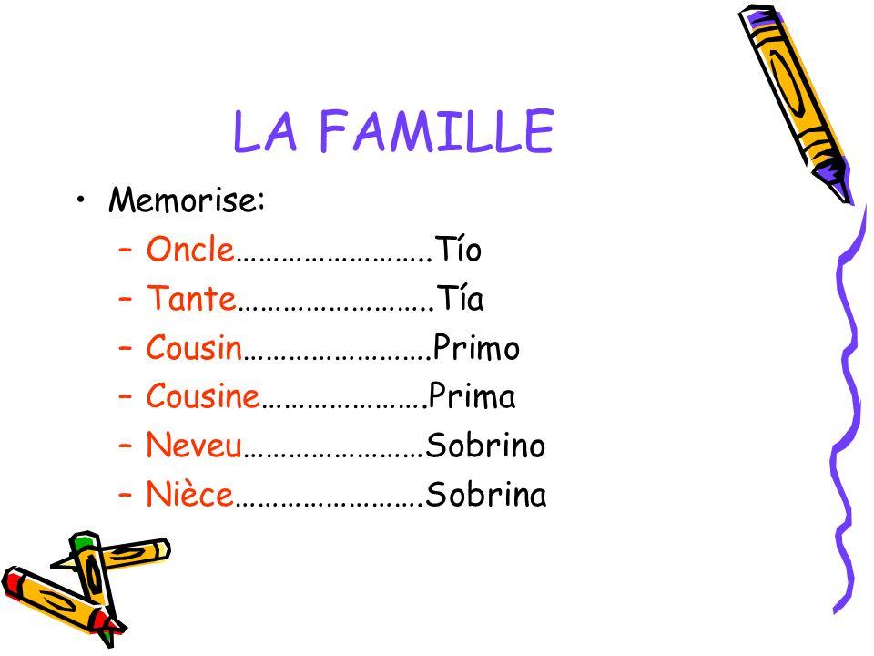 LA FAMILLE Memorise: Oncle……………………..Tío Tante……………………..Tía