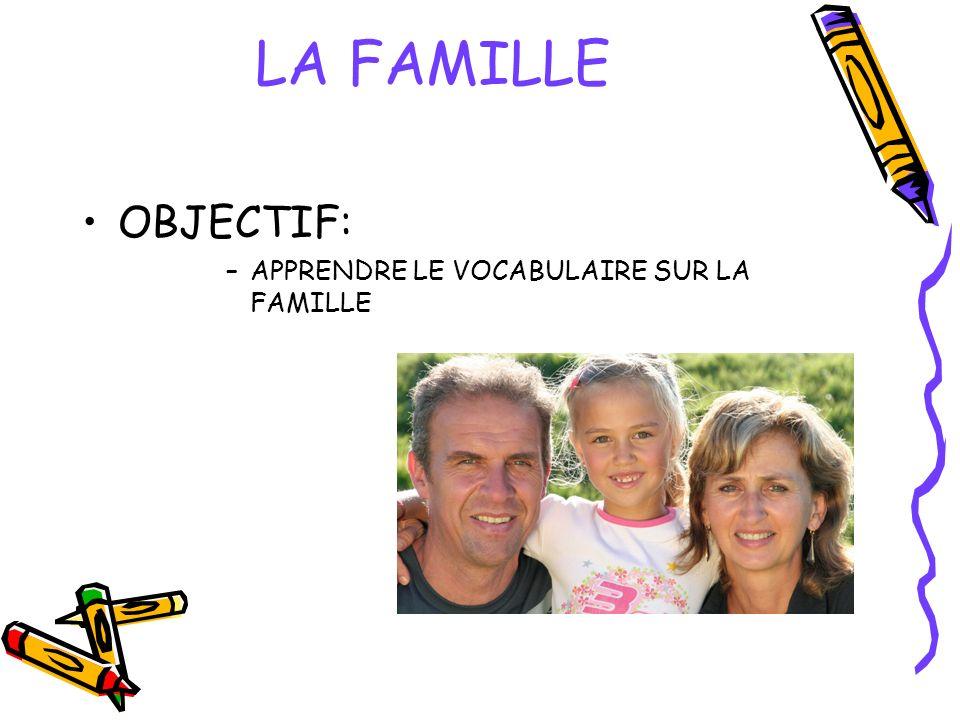 LA FAMILLE OBJECTIF: APPRENDRE LE VOCABULAIRE SUR LA FAMILLE