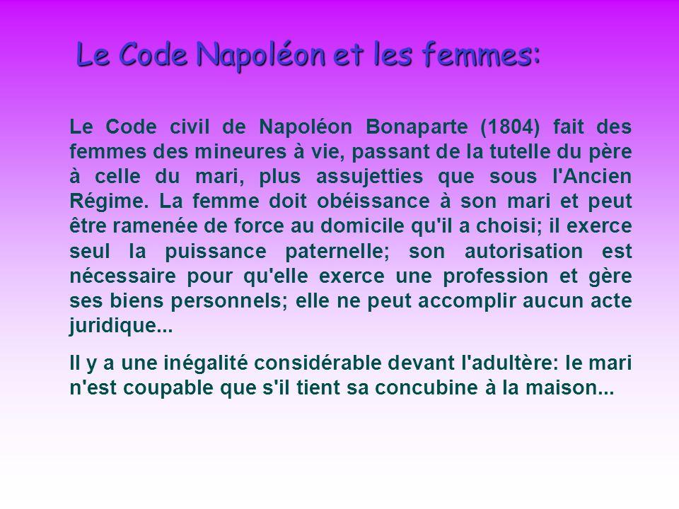 Le Code Napoléon et les femmes: