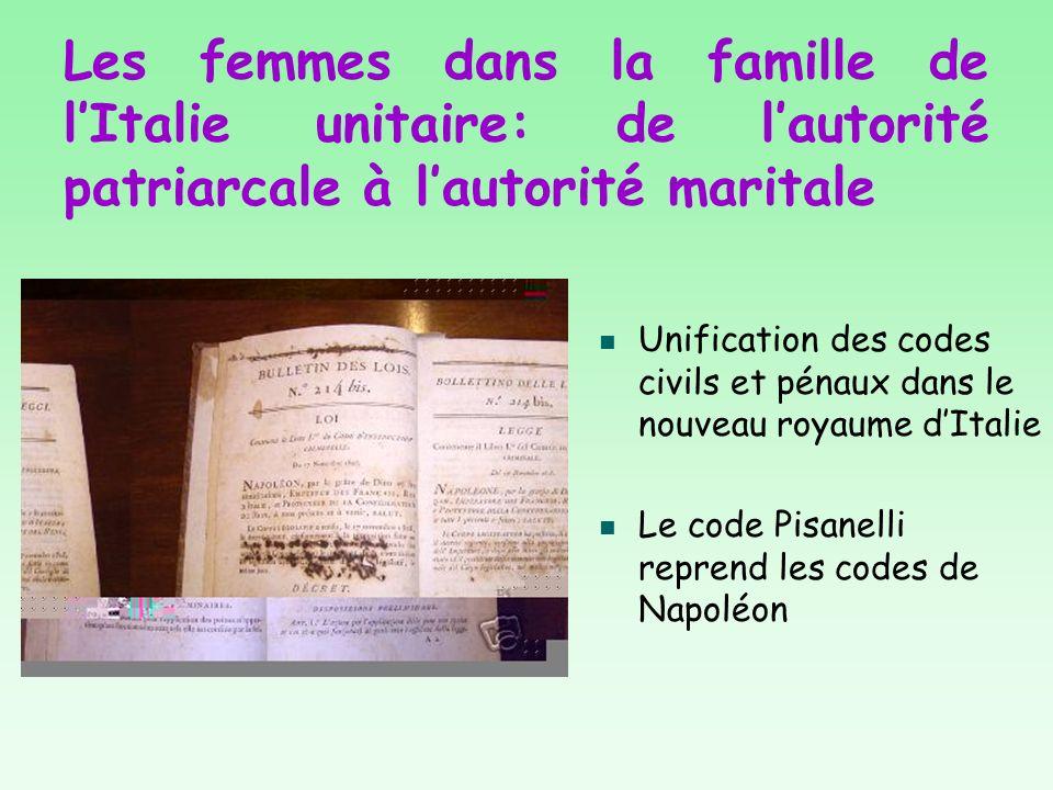 Les femmes dans la famille de l'Italie unitaire: de l'autorité patriarcale à l'autorité maritale