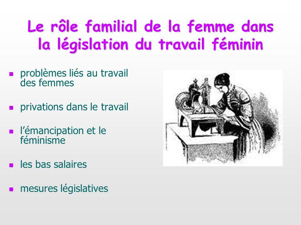 Le rôle familial de la femme dans la législation du travail féminin