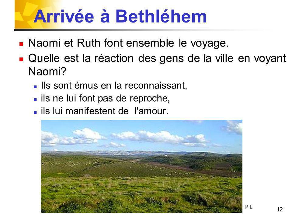 Arrivée à Bethléhem Naomi et Ruth font ensemble le voyage.