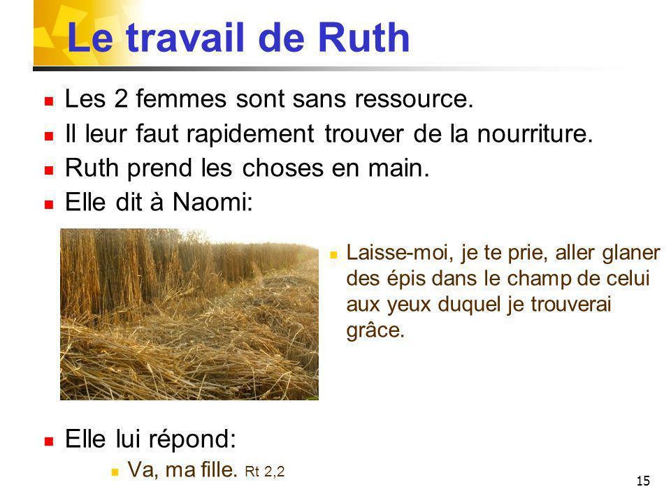 Le travail de Ruth Les 2 femmes sont sans ressource.