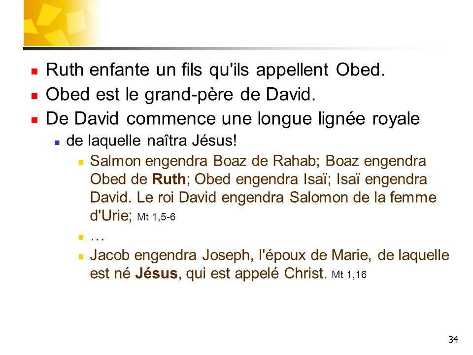 Ruth enfante un fils qu ils appellent Obed.