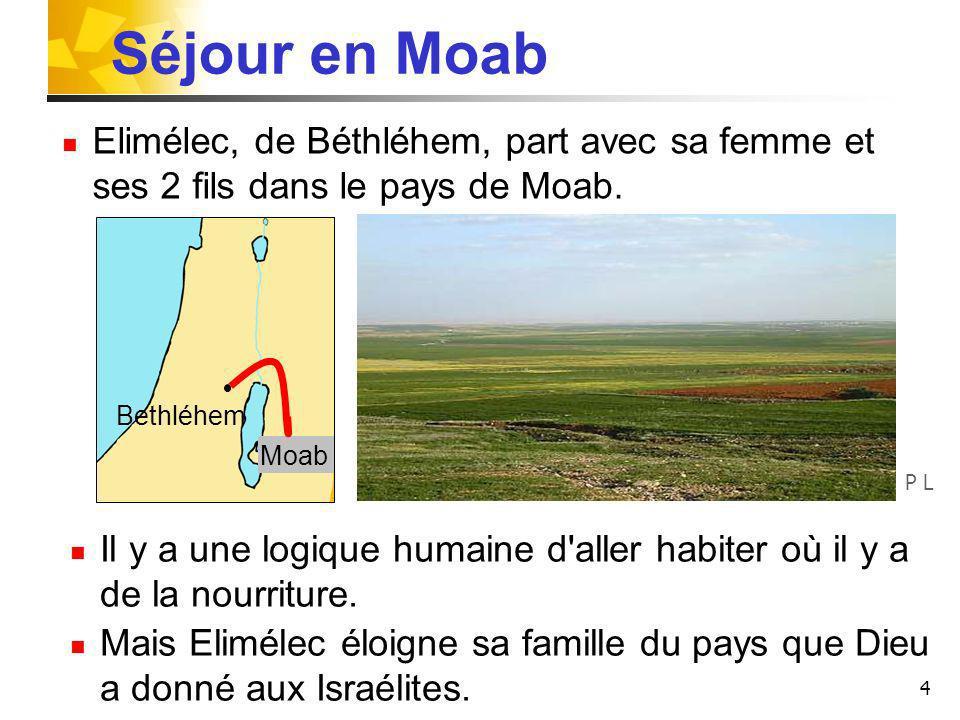 Séjour en Moab Elimélec, de Béthléhem, part avec sa femme et ses 2 fils dans le pays de Moab. Bethléhem.