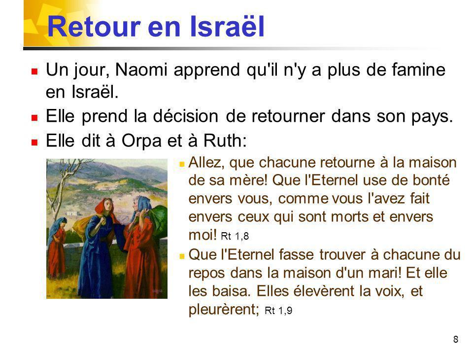 Retour en Israël Un jour, Naomi apprend qu il n y a plus de famine en Israël. Elle prend la décision de retourner dans son pays.