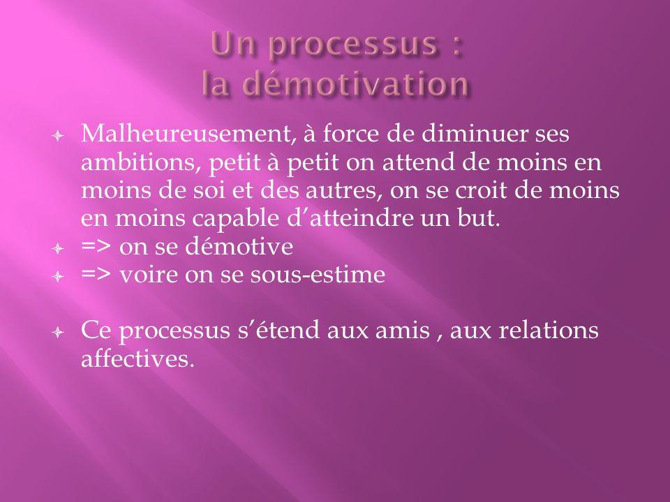 Un processus : la démotivation