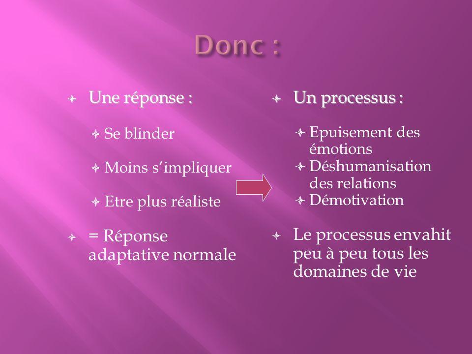 Donc : Une réponse : = Réponse adaptative normale Un processus :
