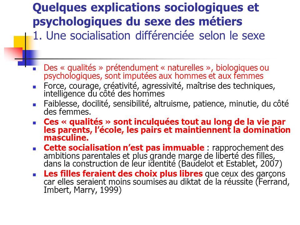 Quelques explications sociologiques et psychologiques du sexe des métiers 1. Une socialisation différenciée selon le sexe