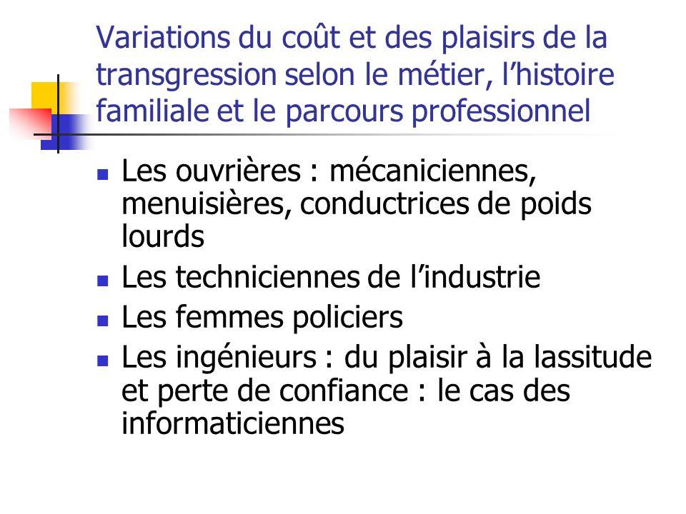 Variations du coût et des plaisirs de la transgression selon le métier, l'histoire familiale et le parcours professionnel