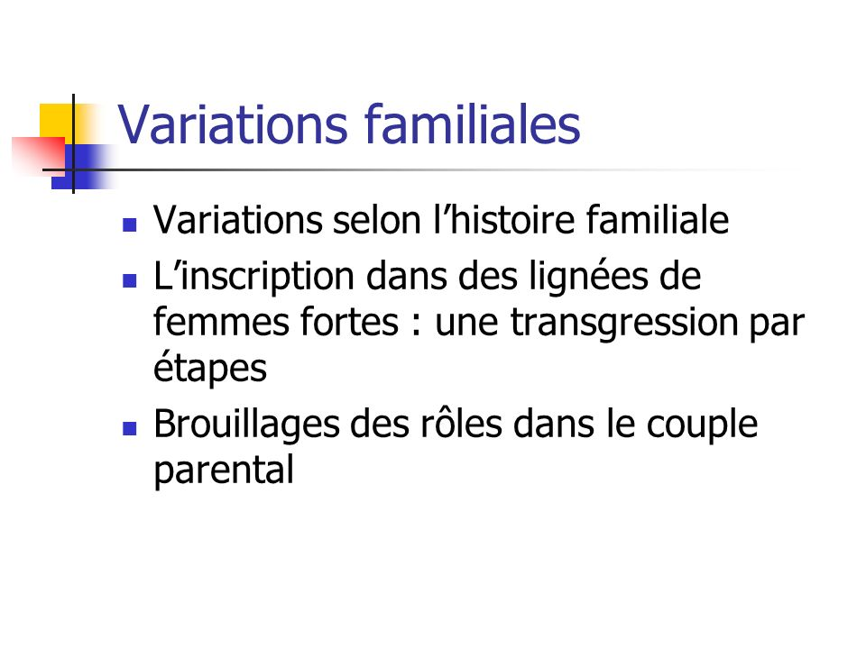 Variations familiales