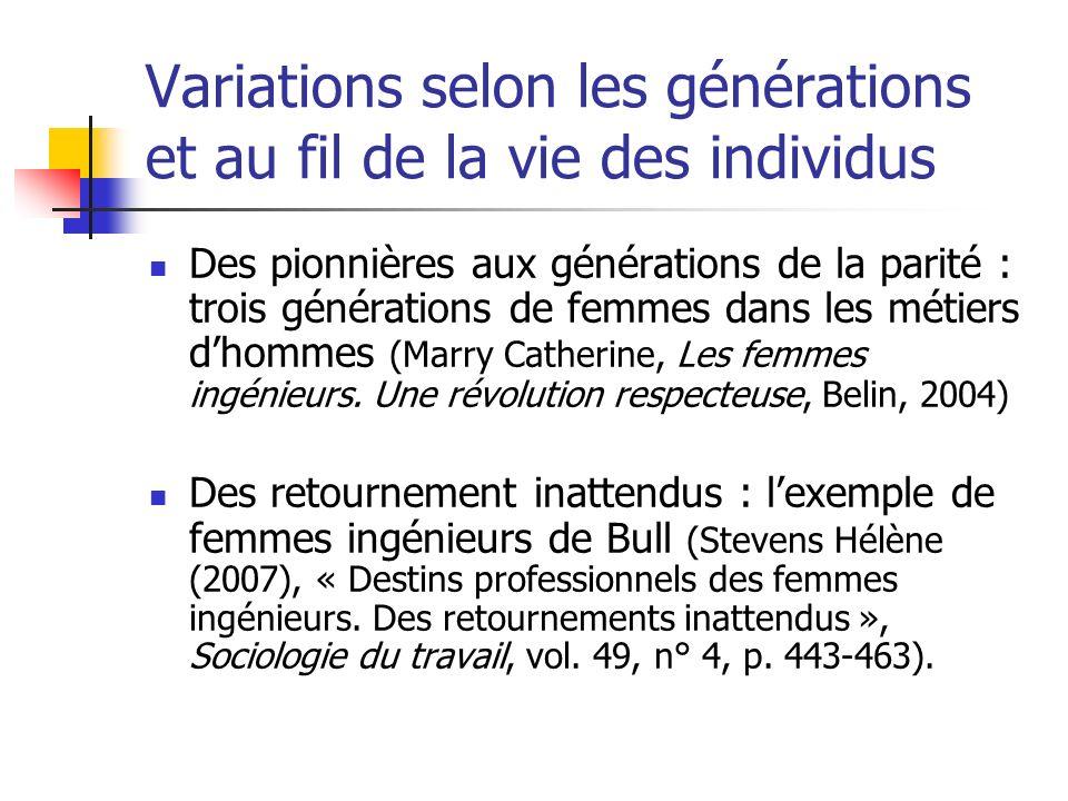 Variations selon les générations et au fil de la vie des individus