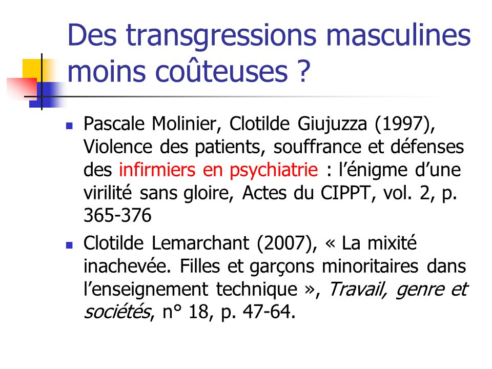Des transgressions masculines moins coûteuses