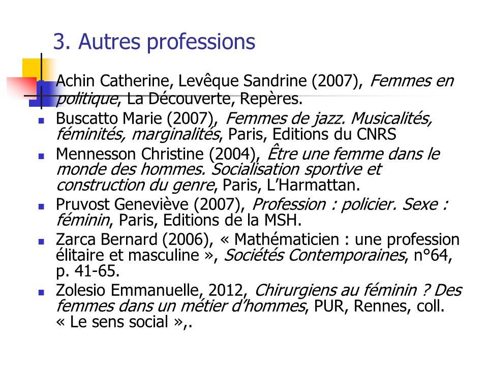 3. Autres professions Achin Catherine, Levêque Sandrine (2007), Femmes en politique, La Découverte, Repères.